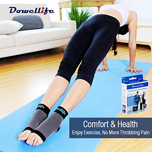 Dowellife Plantar Fasciitis Socks, Ankle Brace Compression Support Sleeves & Arch Support, Foot Compression Sleeves, Ease Swelling, Achilles Tendonitis, Heel Spurs for Men & Women (Black XL)