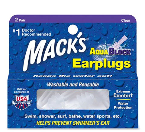 Mack's AquaBlock Earplugs - Clear - (4 Pair)