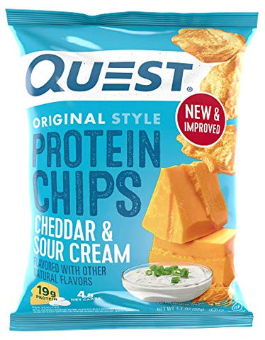 Quest Nutrition Cheddar & Sour Cream Protein Chips, Low Carb, Gluten Free, Potato Free, Baked, Pack of 8