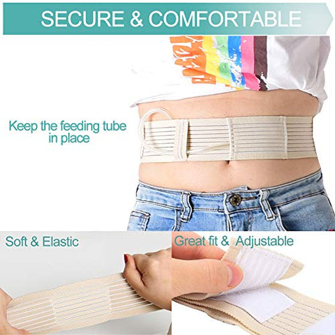 Breathable Peritoneal Dialysis Belt Stretch G/Peg Feeding Tube Holder PD Catheter Covers Bag Drainage Abdominal Fixation Medical Nursing Supplies, Large(35-49 Inch) Beige