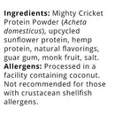 Image of Mighty Cricket Vanilla Protein Powder (1 lb) - 20g Complete Protein per Serving + Vitamin B12 + Omega-3, 100% Natural, No Added Sugar, Non-Whey, Dairy Free, Soy Free, Egg Free, Gluten Free