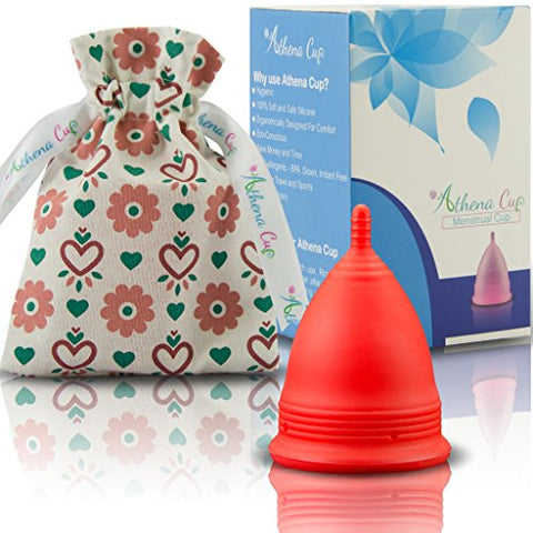 Athena Menstrual Cups Period Cup - One Pack | Regular Flow | Solid Red Size 1 Small | A Softer Menstruation Cup Made for Easier Periods | Excellent Tampon and Pad Alternative