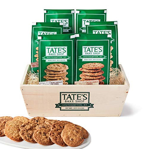 Tate's Bake Shop Cookies, Variety Gift Basket, 7 Oz, 6 Count (Chocolate Chip, Walnut Chocolate Chip, Oatmeal Raisin, White Chocolate Macadamia Nut, Butter Crunch, Coconut Crisp)