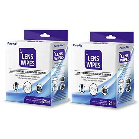 Pure-Aid Lens Cleaning Wipes | 24 Count x 2 Pack Pre-Moistened Individually Wrapped Wipes | Cleans Eyeglasses Camera Lenses, Smart Phone, Tablet Cleaner, Safely Cleans Glasses | Perfect for Travel