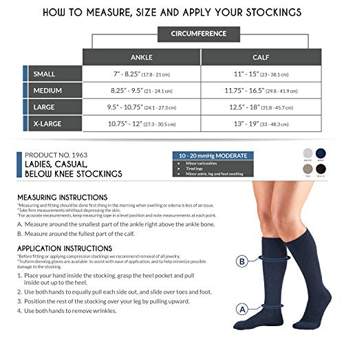 Truform Compression Socks, 10-20 mmHg, Ladies Gym Socks, Knee High Over Calf Length, Black, X-Large