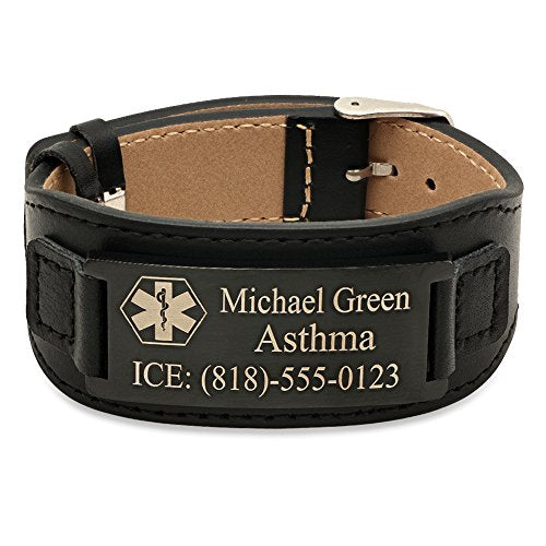 ForeverGiftsusa Free Engraving - Stainless Steel Medical Id Bracelet with Leather