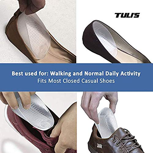 Tuli's Classic Gel Heel Cups (2-Pairs), TuliGEL Shock Absorption Gel Cushion Insert for Plantar Fasciitis and Heel Pain Relief, Regular