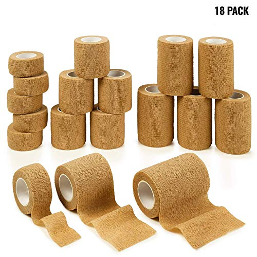 "MEDca Tape Wrap, Self Adherent Rap Tape, Adhering Stick Bandage, Self Grip Roll 1 Inche 2 Inch and 3 inch X 5 Yards 6 of Each Size Total of 18 Rolls""Skin Color"""