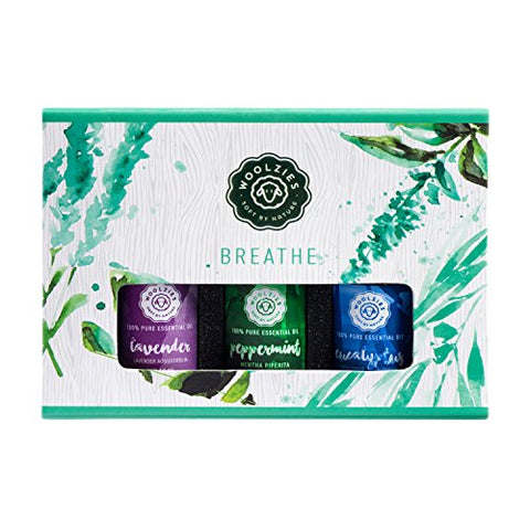 Woolzies Breathe Essential Oil Gift Set of 3 Popular Essential Oils 10ml Each (Lavender, Peppermint and Eucalyptus)