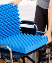 Image of Hermell Convoluted Wheelchair Cushion, Blue Egg Crate Foam, No Cover - 3 Inches Thick