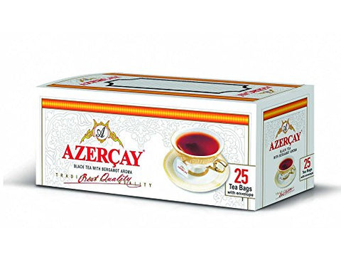 Azercay Black Tea 3 Pack with Bergamot Aroma Disposable Tea Bags - Packed - 3 x 50 gr