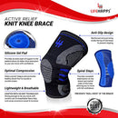 Image of Active Relief Knee Brace By Lifehapps   Gel Knee Support And Compression Sleeve With Side Stabilizer