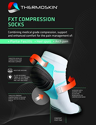Thermoskin FXT Compression Socks, White, Pair/Medium