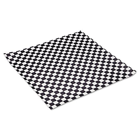 BGC057800 Grease-Resistant Paper Wrap/Liner, 12 x 12, Black Checker Print, 1000/Pack