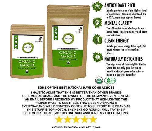 Matcha Green Tea Powder - Superior Culinary - USDA Organic From Japan -Natural Energy & Focus Booster Packed With Antioxidants. (Value Bag 100g (3.5oz))