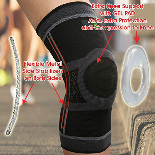 TechWare Pro Knee Compression Sleeve - Knee Brace for Men & Women with Side Stabilizers & Patella Gel Pads for Knee Support. Meniscus Tear, Arthritis, Joint Pain Relief. 5 Sizes. Single Pack