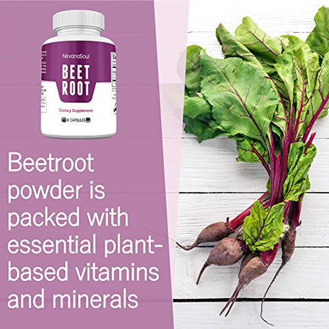 Beet Root Capsules - 1300mg - Made with Organic Beetroot Powder That Supports Lower Blood Pressure, Immune System, Athletic Performance, Digestive - Natural Nitric Oxide Boosting Beet Root Supplement