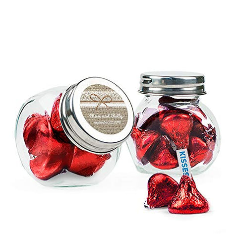 Candy Wedding Favors Personalized Glass Jars with Hershey's Kisses (24 Pack) - Free Cold Packaging