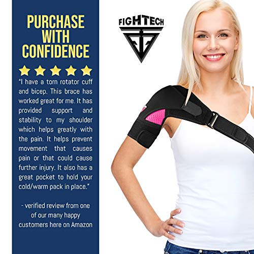 FIGHTECH Shoulder Brace for Men and Women | Compression Support for Torn Rotator Cuff and Other Shoulder Injuries | Left or Right Arm (Black, Large/X-Large)