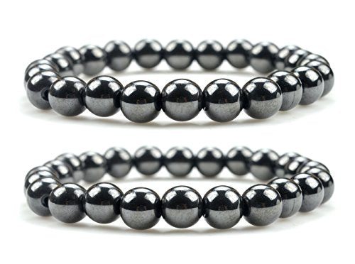 Unisex Magnetic Hematite Therapy Bracelets Set of Two, Metal Therapy, Bracelets for Pain Relief, Hematite Jewelry for Men & Women