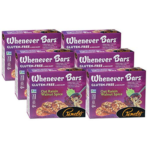 Pamela's Products Whenever Bars Oat Raisin Walnut Spice, 5 Count Box, 7.05-Ounce (Pack of 6) ( Value Bulk Multi-pack)