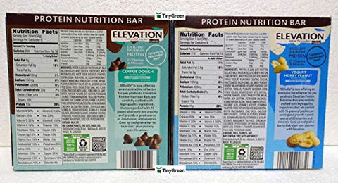 Elevation by Millville Protein Nutrition Bar Two Flavors Bundle (Pack of Two)