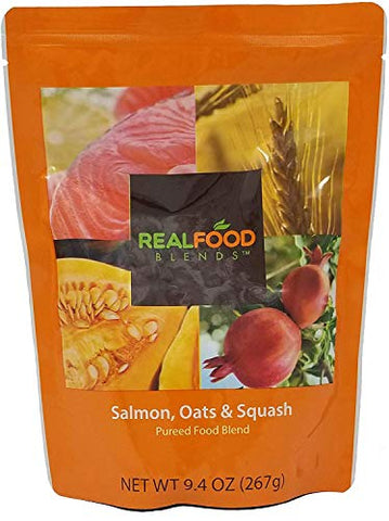 Real Food Blends Tube Feeding Formula 9.4 oz. Pouch Ready to Use Salmon Oats/Squash Adult/Child, 49747 - Each
