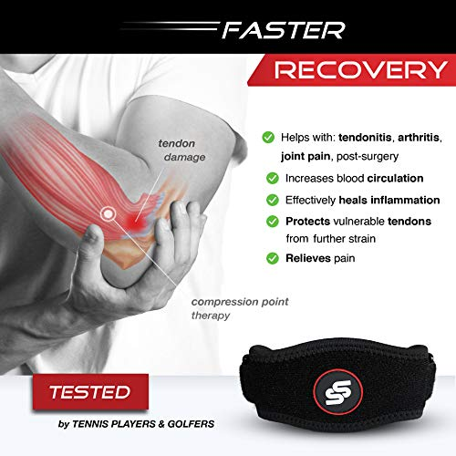 "Tennis Elbow Brace with Compression Pad for Men & Women - Elbow Brace for Tendonitis, Tennis & Golfer's Elbow Pain Relief, Fits 9""-23"", 3 Straps Included - (Single)"