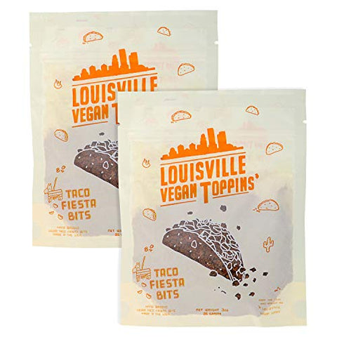 Louisville Vegan Jerky - Toppins' Taco Fiesta Bits, Vegetarian & Vegan Friendly Jerky, 5 Grams of Protein (3 oz) | 2-Pack