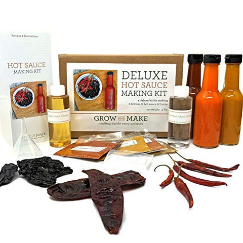 Grow and Make Deluxe DIY Hot Sauce Making Kit - Learn How to Make 6 Spicy Sauces at Home with Chipotle, Arbol, and Guajillo Peppers