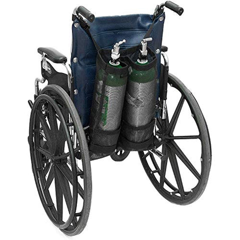 GHzzY Double Oxygen Cylinder Bag - Wheelchair Oxygen Tank Bag for D and E Cylinders Bottle - Oxygen Backpack Holder for Wheelchair & Walker