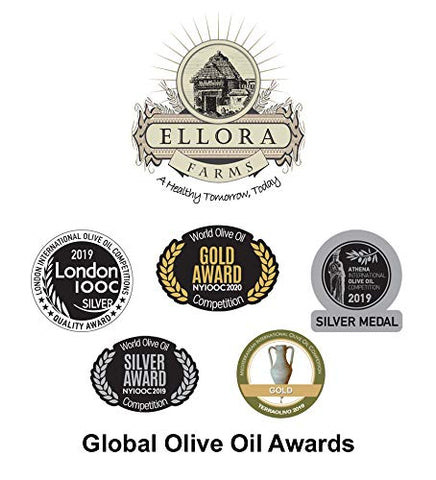 Ellora Farms, 2020 Gold Award Winner, Certified PDO Extra Virgin Olive Oil, Single Estate, Single Origin, Single Variety, Cold Press & Traceable Olive Oil, Born in Crete, Greece, Kosher, 1 Lt Tin (33.