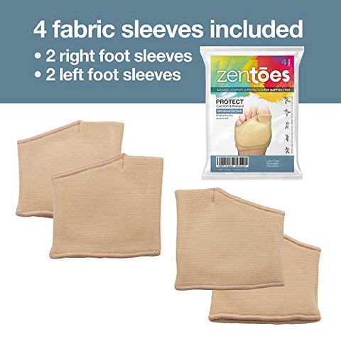 ZenToes Metatarsal Pads for Women and Men - 4 Pack Ball of Foot Cushions