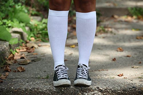 Made in The USA - Cotton Graduated Compression Socks - Unisex, Firm Support 20-30mmHg, Support Knee High's - Closed Toe, Color White, Size Medium - Absolute Support, SKU: A105WH2