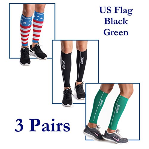 dimok Calf Compression Sleeve Pair - Leg Compression Socks for Calves Women Men - Reduces Shin Splint Muscle Pain - Fast Recovery Better Circulation (USA Flag & Green & Black, L/XL)