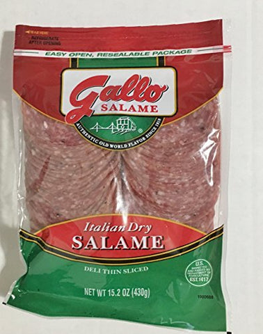 15.2oz Gallo Italian Dry Salame Deli Thin Sliced Salami, Pack of 2