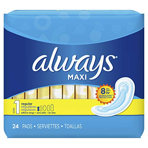 Always Maxi Feminine Pads For Women, Regular Absorbency, 24 Count, No Wings, Unscented (24 Count)