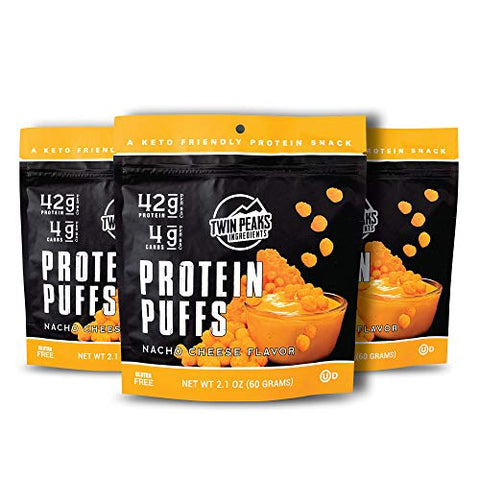 Twin Peaks Low Carb, Keto Friendly Protein Puffs, Nacho Cheese, 2 Servings, 3 Pack (60g, 42g Protein, 4g Carbs)