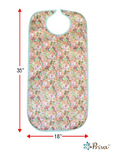 "Priva Extra Long Floral Waterproof Mealtime Protector 18"" x 35"", with Vinyl Protective Backing and Adjustable Snap Closure"