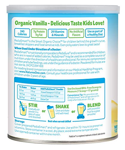 PediaSmart Organic Non-GMO Dairy Vanilla Complete Nutrition Beverage Powder, Clean Label Project Verified, 12.7 oz