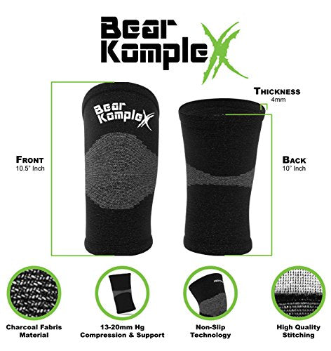 Bear KompleX Compression LITE Neoprene Knee Sleeves, Support for Workouts & Running. Sold in Pairs-Crossfit Training, Weightlifting, Wrestling, Squats & Gym Use 4mm Thick, Options for Both Men & Women
