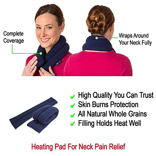 Microwavable Neck Heating Wrap by Sunny Bay - Flax Seeds Bean Bag Heat Pad for Neck Pain Relief, Microwave, Hot & Cold Therapy, Extra Long Shoulder Heat Pack, Back Pain Relief (London Plaid)