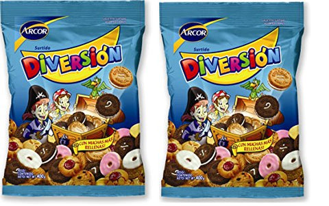 Galletitas Diversion Surtidas Arcor 400 gr. - 2 Pack / Assorted Cookies - 2 Pack.