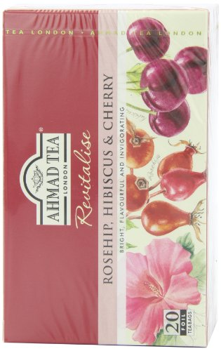 Ahmad Tea Rosehip & Cherry Infusion, 20-Count Tea Bags, 1.4 Oz, (Pack of 6)