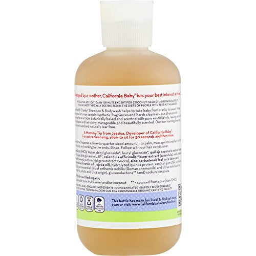 California Baby Overtired and Cranky Shampoo and Body Wash - Hair, Face, and Body | Gentle, Allergy Tested | Dry, Sensitive Skin, 8.5 oz.
