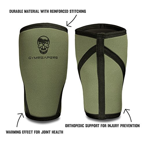 Gymreapers Knee Sleeves (Pair w/Bag) - Knee Compression Sleeve Support for Squats, Weightlifting, and Powerlifting 7MM Neoprene Sleeves - 1 Year Warranty (Military Green/Black, Medium)