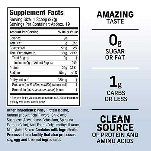MuscleTech Iso Whey Clear Protein Powder, 22 Grams Protein, Ultra-Pure Isolate, Light and Refreshing Fruit Flavor, Lemon Berry Blizzard, 1.1 Pounds (19 Servings)(Packaging May Vary)