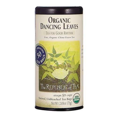 The Republic of Tea Organic Dancing Leaves Green Tea, 50 Tea Bag Tin