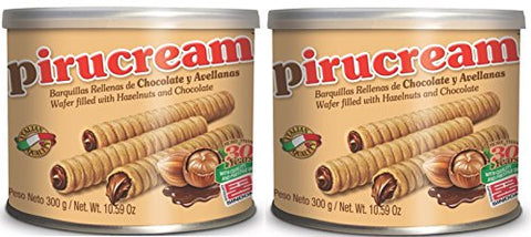 Two Pack Pirucream Rolled Wafers, Chocolate Hazelnut Can 300 grs./ 10.59 Oz - NFBA
