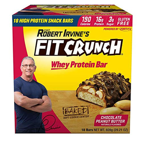 Fit Crunch Chef Robert Irvine's Whey Protein Bars, 18 Count Chocolate Peanut Butter